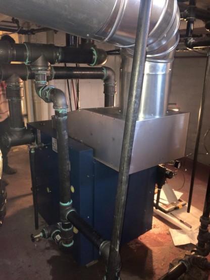 Utica boiler heat exchanger back view